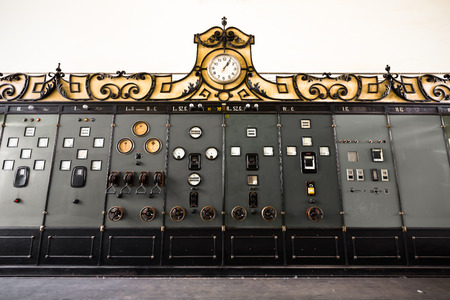 electric controller room in an old factory photo