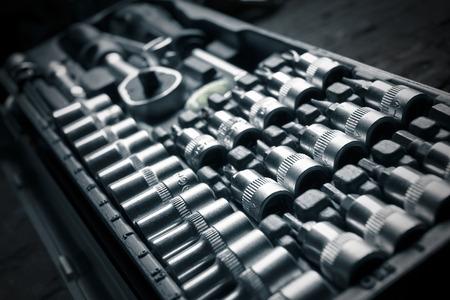 chrome vanadium: a chrome vanadium wrench set, tool, detail Stock Photo