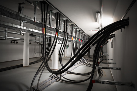 wire: the cellar of an electric station, incoming electric wires