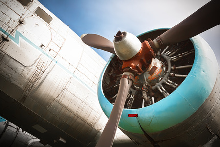 an old obsolete aircraft propeller, bottom-up, detail photo