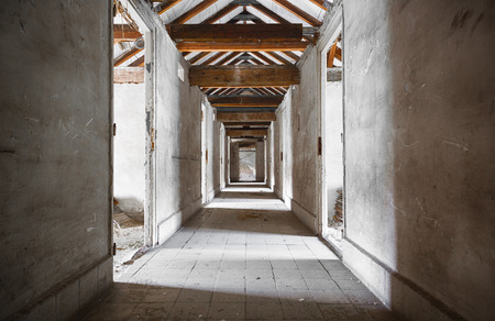 an old building corridors, doors, wooden roof structure Stock Photo - 29721220