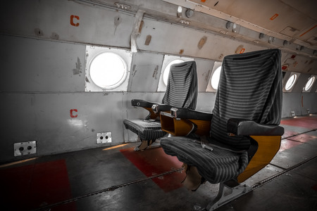 the outdated: an old outdated passenger air inside, detail Stock Photo