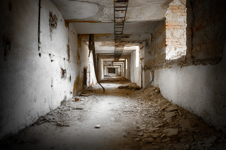 corridors: old ruined corridors Stock Photo