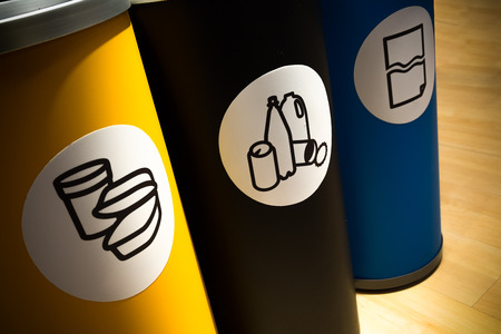 n a row three pieces of selective waste container pot Stock Photo