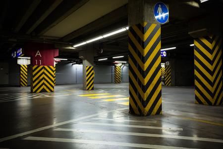 a dark parking garage industrial room interior