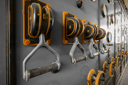 ammeter: old industrial electronics switch cupboard in a firm Stock Photo
