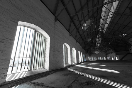 attic: an empty desolate industrial building inside, attic Stock Photo