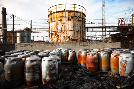 barrel containing much hazardous waste in a firm Stock Photo