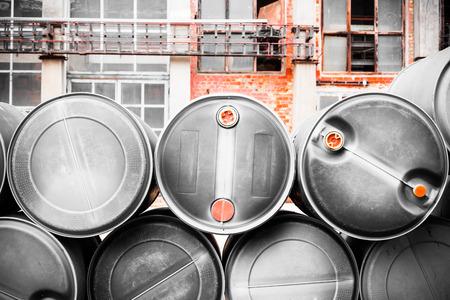 hazardous waste: barrel containing much hazardous waste in a firm Stock Photo