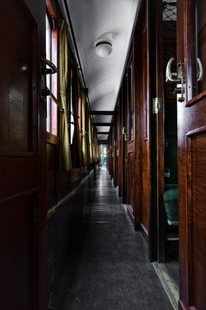 interior corridor  in front of the old train cabins