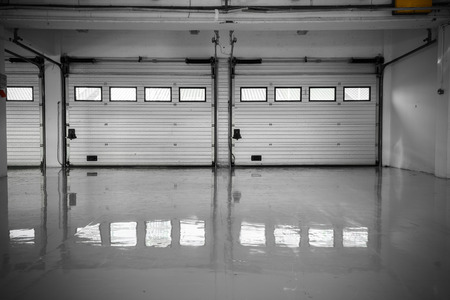 an auto motor speedway garage, interior, windows Editorial