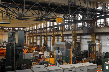 an old industrial interior, electric engine manufacturer