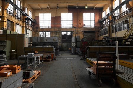 an old industrial interior, electric engine manufacturer Editorial