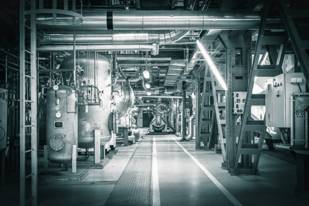 equipments, pipes in a modern thermal power station