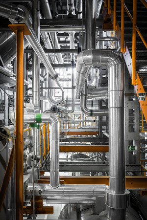 equipments, pipes in a modern thermal power station photo
