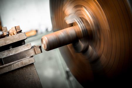 turning operation: lathe machine metal workshop