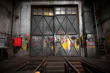 old abandon industrial construction interior, polishing workshop photo
