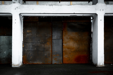 rusted partition in white wall frame photo