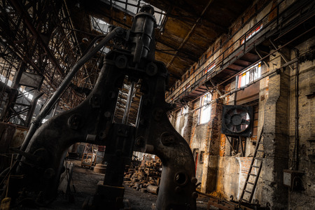 high torque: steam hammer in old iron factory