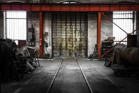 abandoned warehouse: old industrial metal gate
