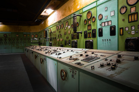 electric controller room in an old metallurgical factory photo