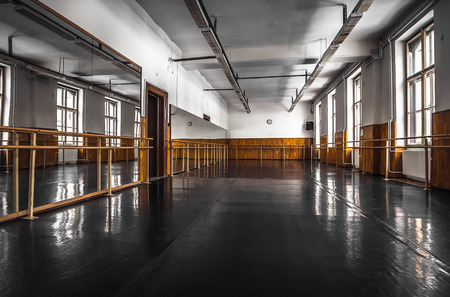 Old black ballet hall floor Standard-Bild