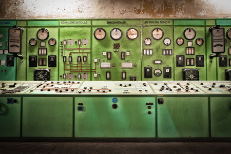 electric controller room in an old metallurgical factory Stock Photo