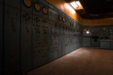 control room: electric controller room in an old metallurgical factory Stock Photo
