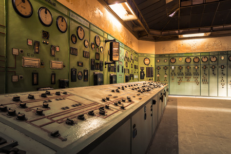 megawatt: electric controller room in an old metallurgical factory Stock Photo