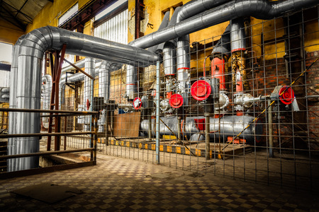 refinery engineer: metal pipe cable in an desolate firm