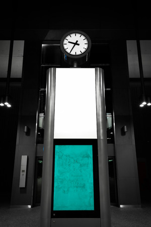 to depart: modern analog clock is a subway station