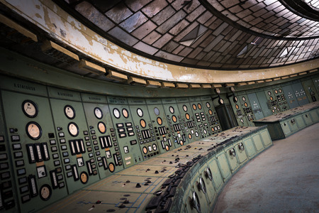 distribution board: control room in an abandoned power plant