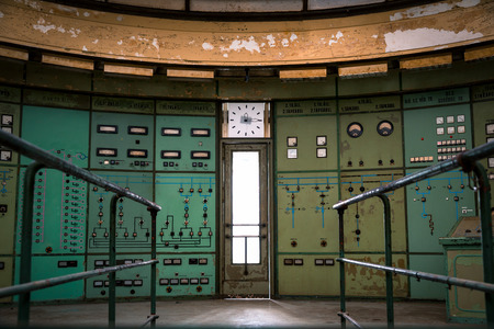 plc: control room in an abandoned power plant
