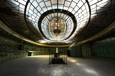 control room in an abandoned power plant photo