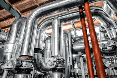 Large industrial pipes in a thermal power plant