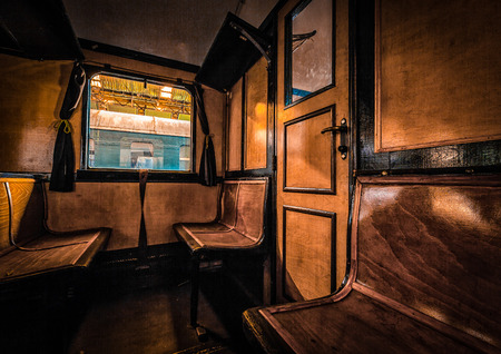 wood railroad: antique train interior Stock Photo