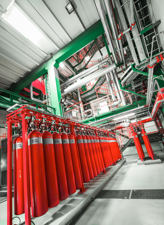 Large CO2 fire extinguishers Stock Photo