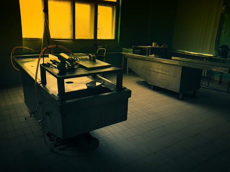 an autopsy room interior Stock Photo