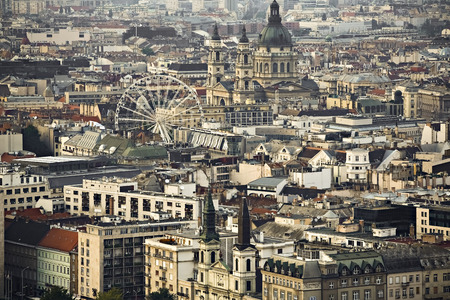Budapest, Hungarys capital city, houses, view from above