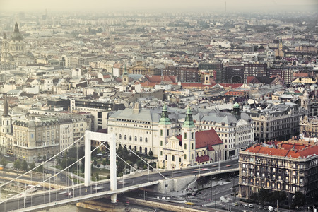 Budapest, Hungarys capital city, houses, view from above photo