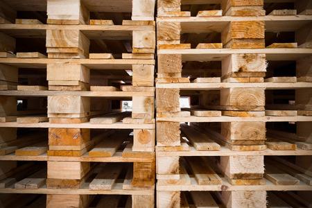 detail of stock wood pallet under sun light photo
