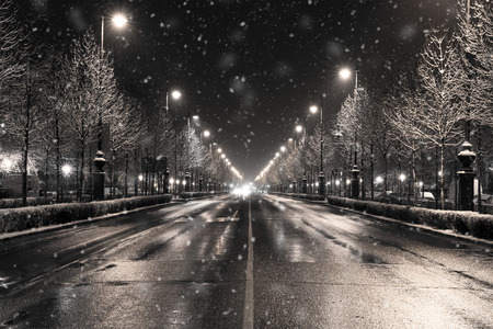dark city: a winter townscape in a snowfall, budapest