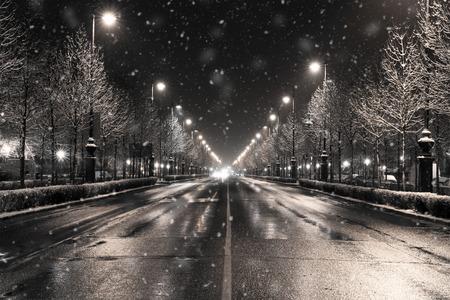 een winter stadsbeeld in een sneeuwval, Boedapest Stockfoto