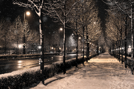 a winter townscape in a snowfall, budapest