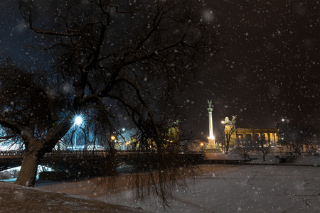 a winter townscape in a snowfall, budapest photo