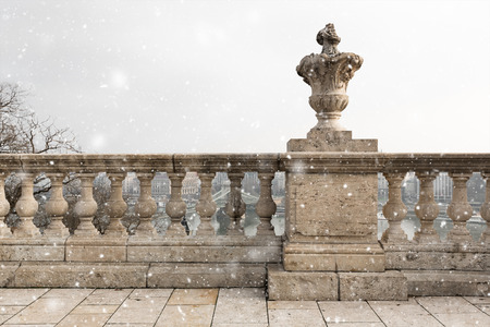 oldstyle: old-style decoration stone columns in a city
