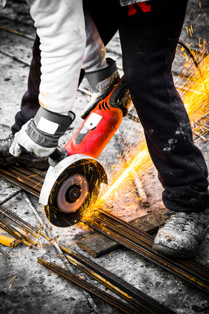 Electrical steel grinding wheel on a construction site 版權商用圖片