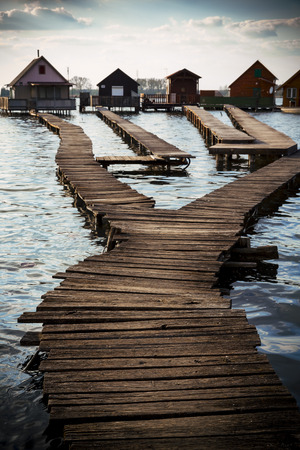 chalets: chalets cottages on the shore of the lake Stock Photo