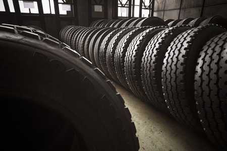 New large tires of the bus garage