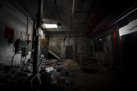 abandoned room: garbage, dirty room in an abandoned old factory Stock Photo